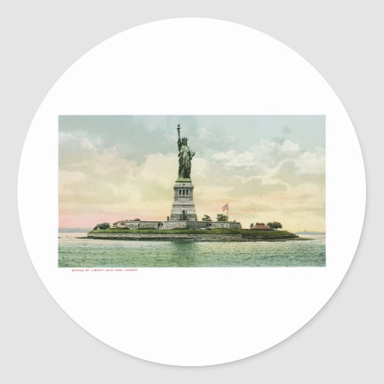 """Vintage """"Statue of Liberty"""" Poster. New York. Classic Round Sticker"""