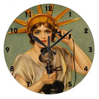 Vintage Statue of Liberty WWI Patriotic War Ad Clocks