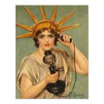 "Vintage Statue of Liberty, WWI Patriotic War Ad 4.25"" X 5.5"" Invitation Card"