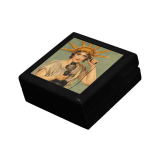 Vintage Statue of Liberty, WWI Patriotic War Ad Jewelry Box