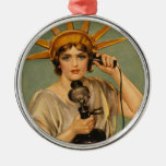 Vintage Statue of Liberty, WWI Patriotic War Ad Round Metal Christmas Ornament
