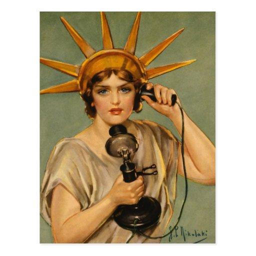 Vintage Statue of Liberty WWI Patriotic War Ad Postcards