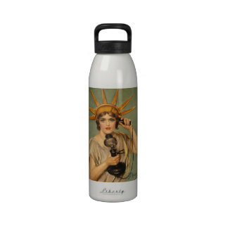 Vintage Statue of Liberty WWI Patriotic War Ad Reusable Water Bottle