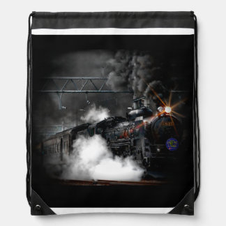 Vintage Steam Engine Black Locomotive Train Drawstring Bag