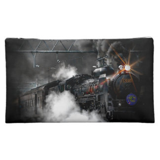 Vintage Steam Engine Black Locomotive Train Makeup Bag