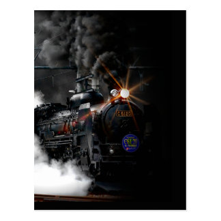 Vintage Steam Engine Black Locomotive Train Postcard