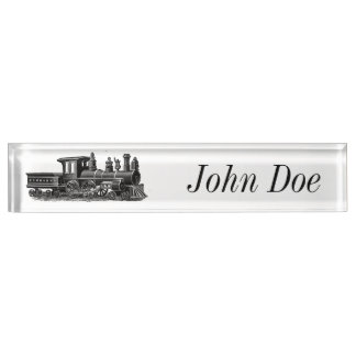 Vintage Steam Engine Desk Name Plate