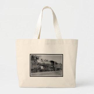 Vintage Steam Engine Railroad Locomotive Large Tote Bag