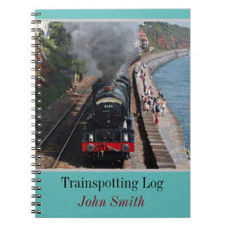 Vintage steam loco trainspotting log personalised notebook