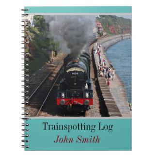 Vintage steam loco trainspotting log personalised notebooks