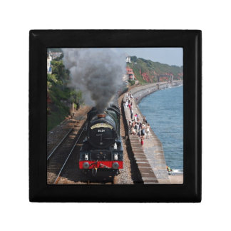 Vintage steam locomotive by the sea jewelry boxes