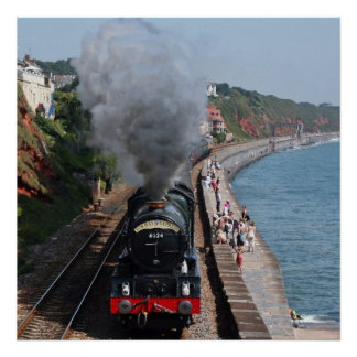 Vintage steam locomotive by the sea poster