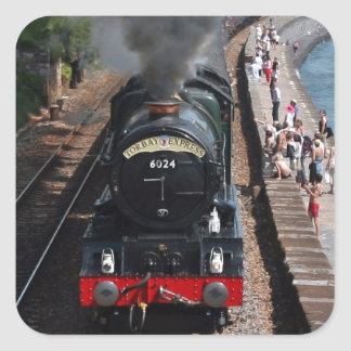 Vintage steam locomotive by the sea square sticker