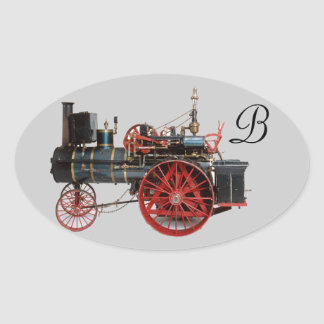 VINTAGE STEAM LOCOMOTIVE MONOGRAM OVAL STICKER