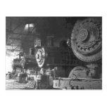 Vintage Steam Locomotive Roundhouse Postcard