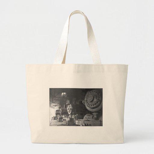 Vintage Steam Locomotive Roundhouse Tote Bag