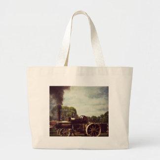 Vintage Steam Power, Vintage Tractor Large Tote Bag