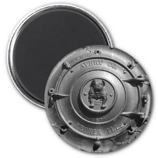Vintage Steam Tractor Front. 2 Inch Round Magnet