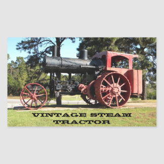 Vintage Steam Tractor - In Color. Rectangular Sticker