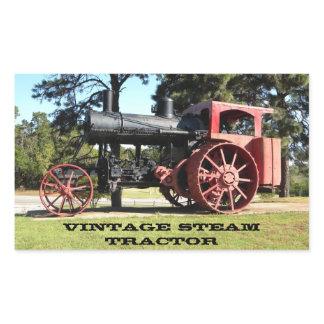 Vintage Steam Tractor - In Color. Rectangular Sticker