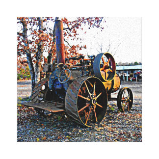 Vintage Steam Tractor - Man Cave Art Canvas Print