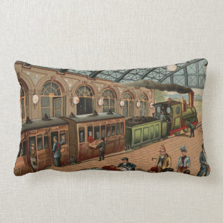 Vintage Steam train and station scene Lumbar Pillow