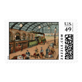 Vintage Steam train and station scene Postage