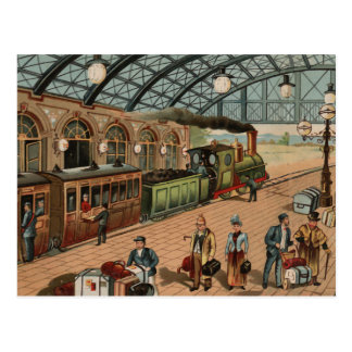 Vintage Steam train and station scene Postcard