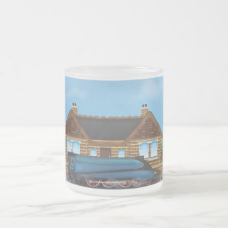 Vintage Steam Train in Station Frosted Glass Coffee Mug