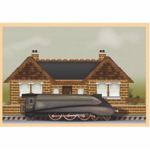 Vintage Steam Train in Station Statuette