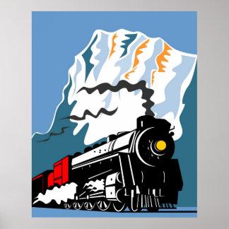 Vintage Steam Train Locomotive Retro Poster