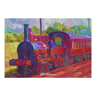 Vintage Steam Train Modern Painting on a Poster