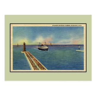Vintage steamer entering harbor Muskegon MI Postcard