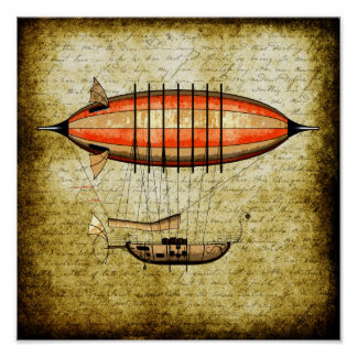 Vintage Steampunk Airship Poster