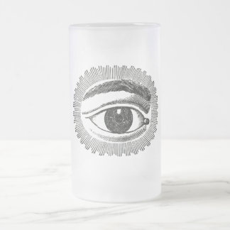Vintage Steampunk All Seeing Eye Frosted Glass Beer Mug