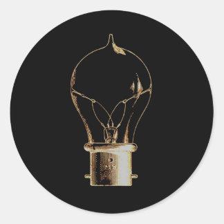 Vintage Steampunk Art Lighted Light bulb Classic Round Sticker