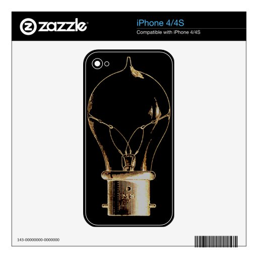 Vintage Steampunk Art Lighted Light bulb iPhone 4 Decals