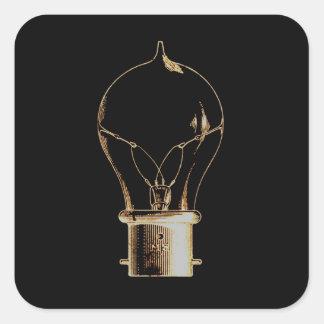 Vintage Steampunk Art Lighted Light bulb Square Sticker