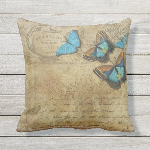 Vintage Steampunk Blue Butterflies on Parchment Outdoor Pillow