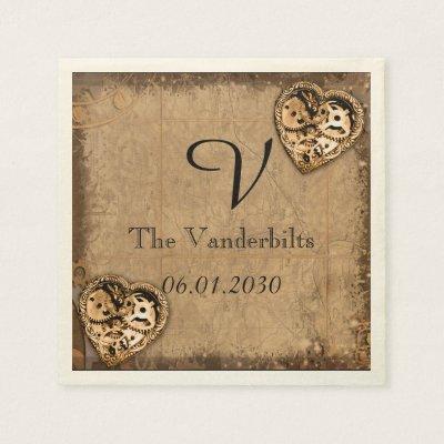Vintage Steampunk Bride Monogram Wedding Napkin