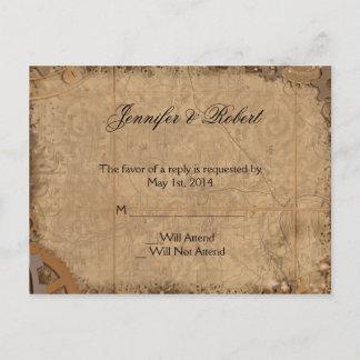 Vintage Steampunk Bride RSVP Postcard