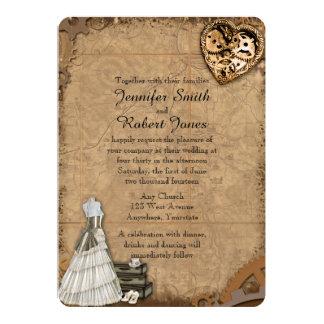 Vintage Steampunk Bride Wedding Invitation