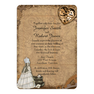 Vintage Steampunk Bride Wedding Invitation