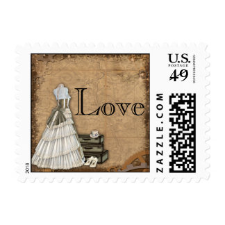 Vintage Steampunk Bride Wedding Postage Stamp