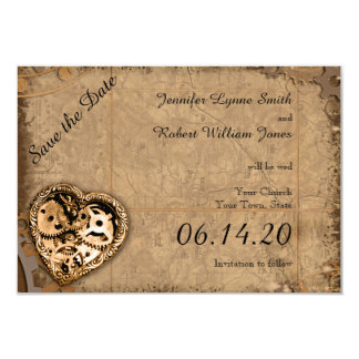 Vintage Steampunk Bride Wedding Save the Date Card