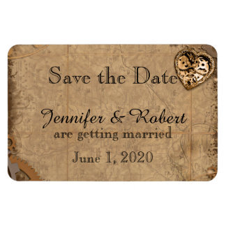 Vintage Steampunk Bride Wedding Save the Date Magnet