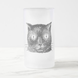 Vintage Steampunk Cat Frosted Glass Beer Mug