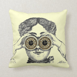 Vintage Steampunk Clock Binocular Lady Pillow