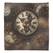 Vintage Steampunk Clocks Bandana