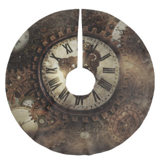 Vintage Steampunk Clocks Brushed Polyester Tree Skirt